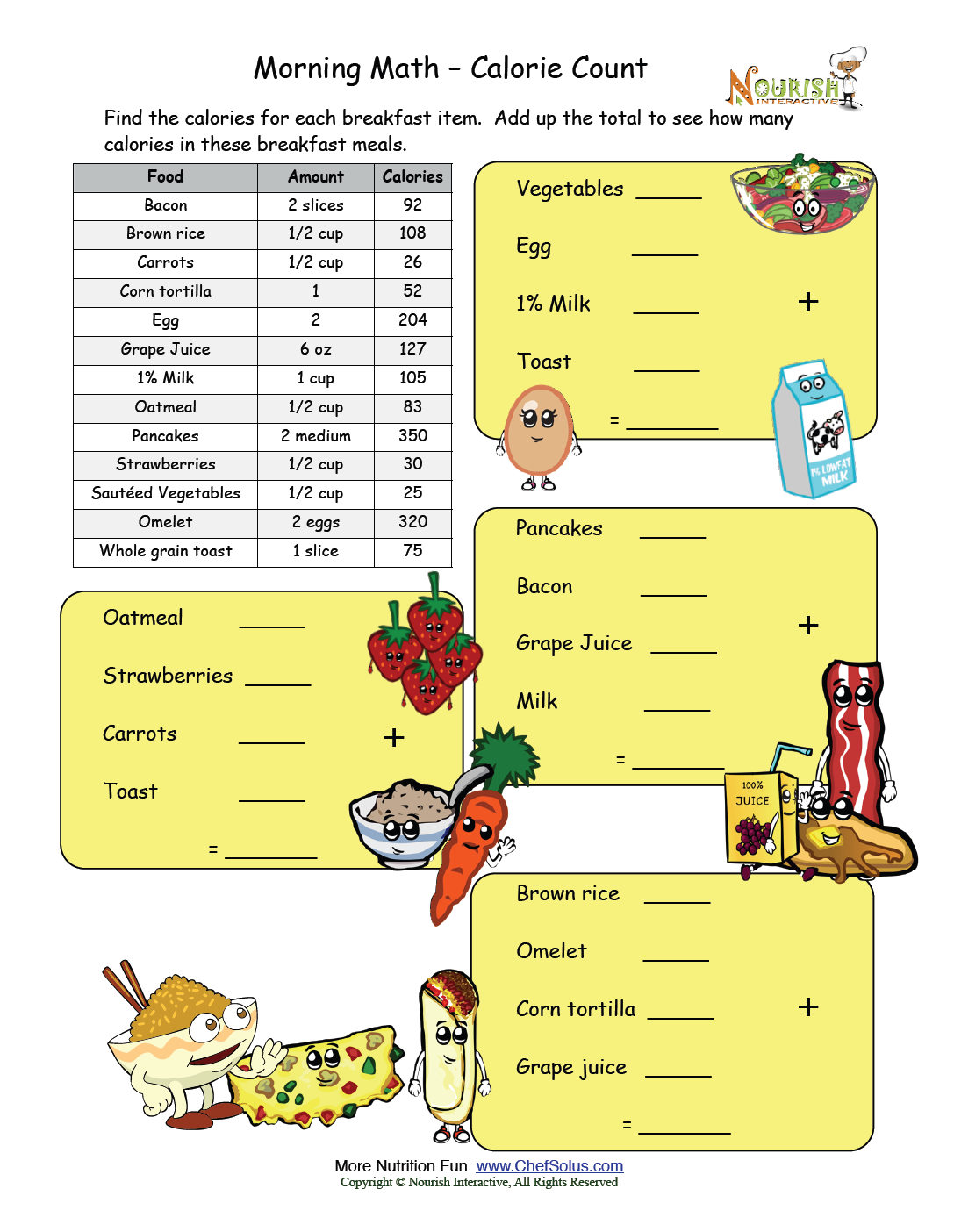 Worksheets Calorie Worksheet morning math calorie count nutrition worksheets and games count