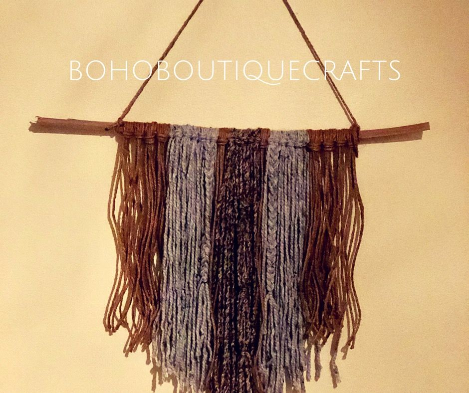 Handmade modern yarn wall hanging with a Bohemian beach style twist ...