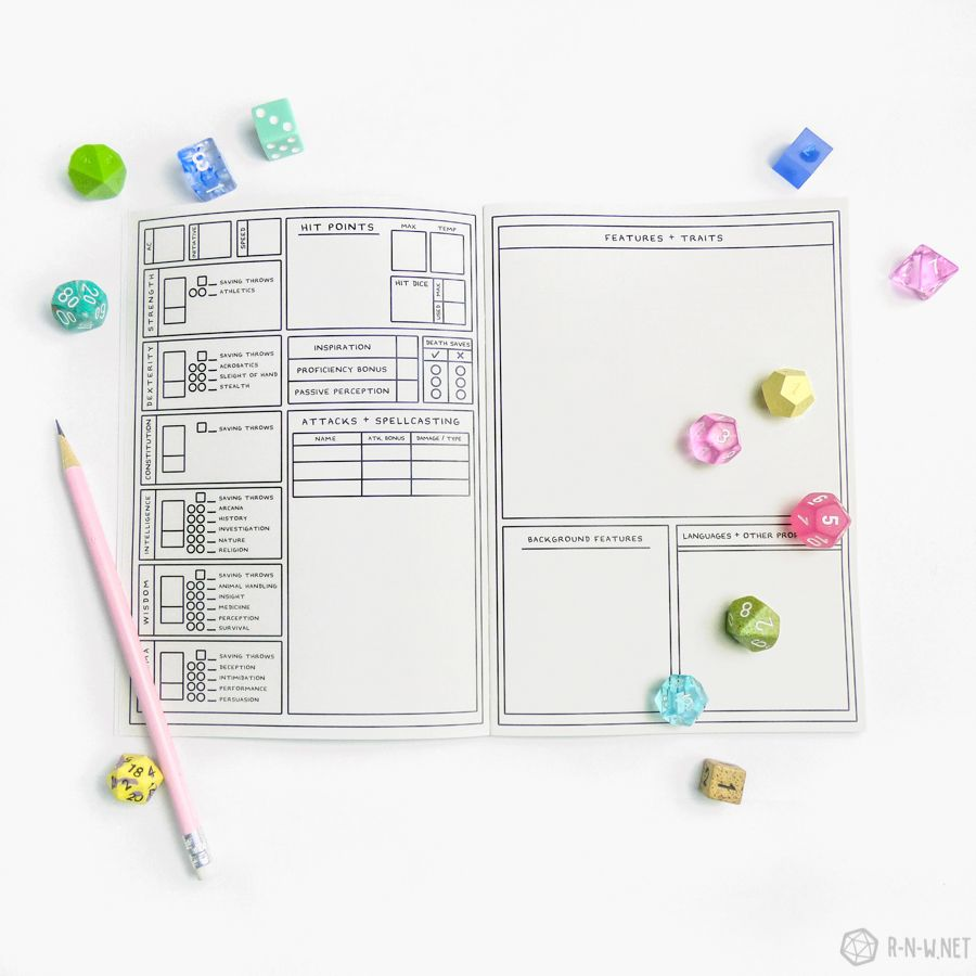 Character journal mountain rnw dnd character sheet
