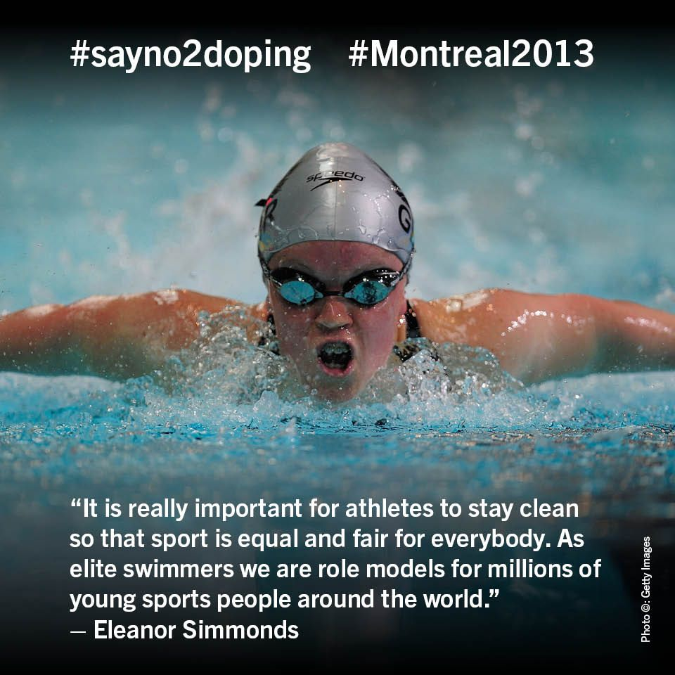 "Eleanor Simmonds say #no2doping Journée ""non à la drogue"" dans le sport à #Montreal2013"