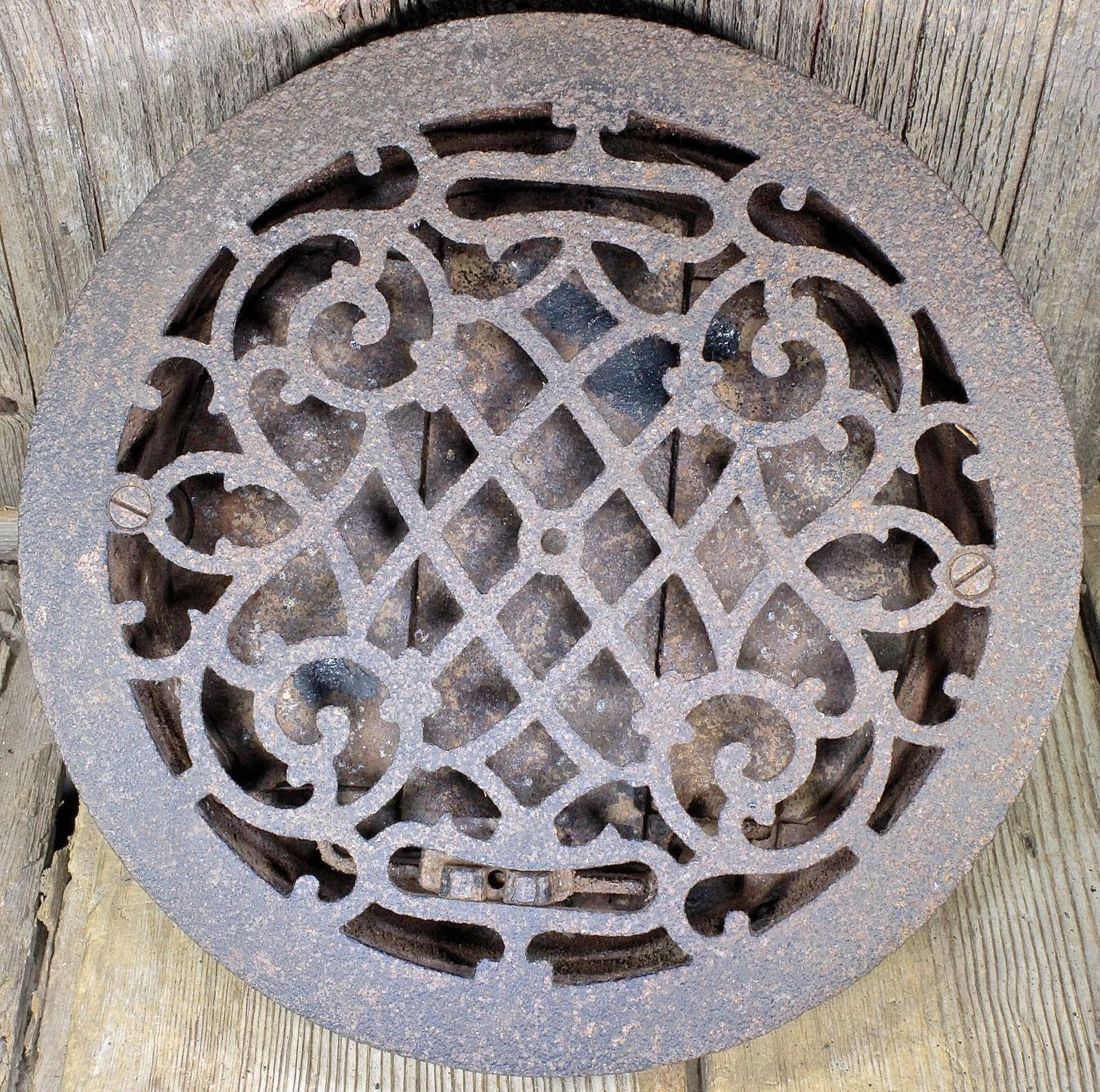 air conditioning grates. old heat air conditioning grate only register round 9 1/2\u201d pitted iron curls grates e