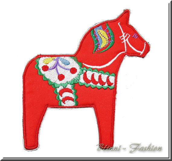 Iron-On Embroidered Patch red Dala Horse