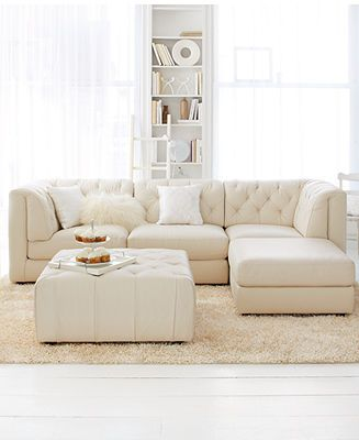 Rosario Leather Modular Living Room Furniture Collection With Sets & Pieces - Furniture… | Leather Couches Living Room, White Leather Sofas, Living Room Leather