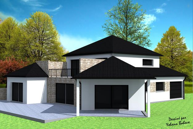 maison avec toiture 4 pans ventana blog. Black Bedroom Furniture Sets. Home Design Ideas
