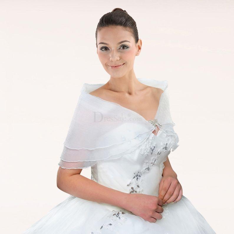 Romantic Layered White Organza Shrug with Glistening Brooch