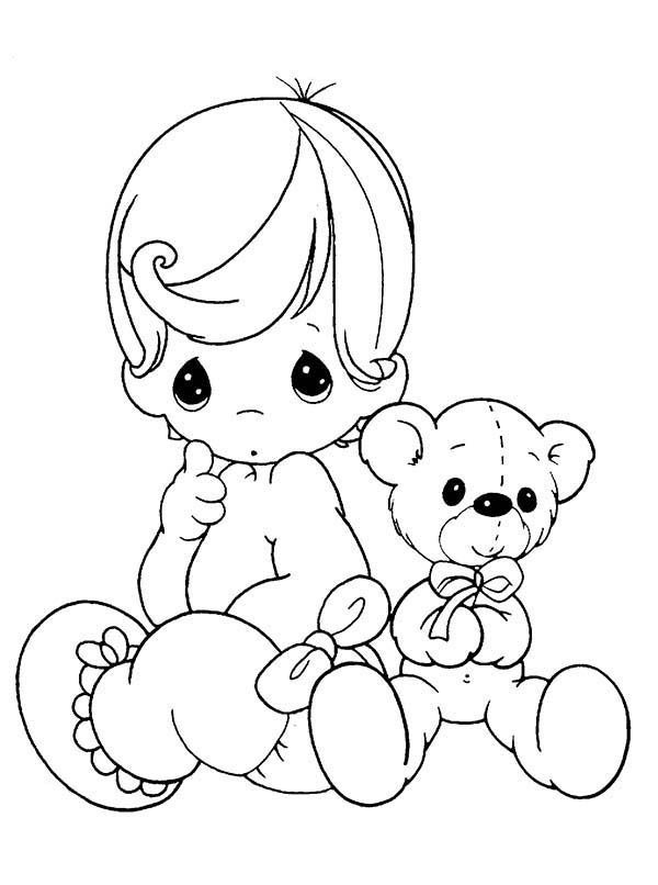 Baby Precious Moments With Her Teddy Bear Coloring Page Precious Moments Coloring Pages Baby Coloring Pages Angel Coloring Pages