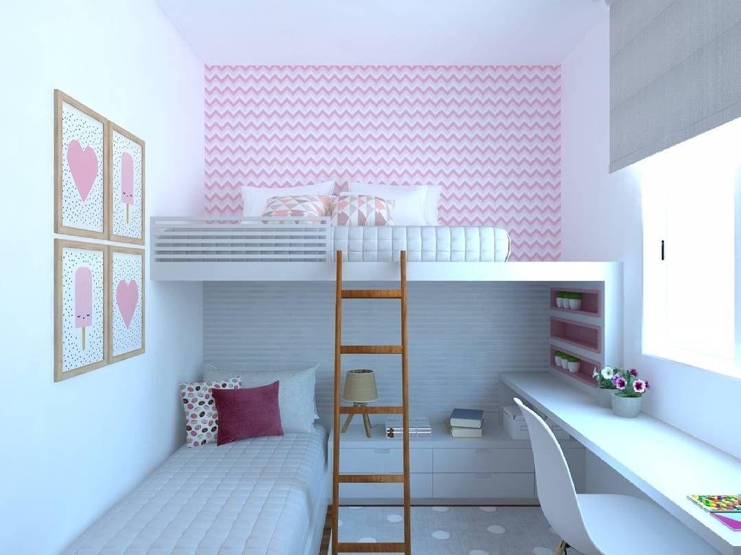 Quartinho para princesas 😍😍 #interiores #interiordesign #decorhome #decorbedroom #kidsroom #girlsroom #projetosdeinteriores #3drender #3dmodeling
