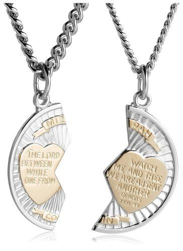 b8cf9b48369 Sterling Silver and Stainless Steel Mizpah Medal Necklace