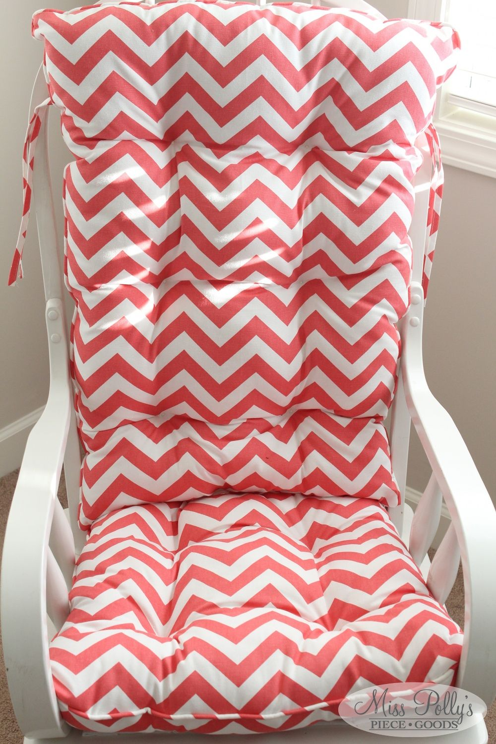 Coral Chevron Cushions Custom made to fit with a squaredtop by