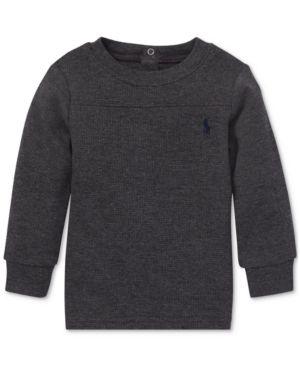 ac534ff8d5122 Polo Ralph Lauren Baby Boys Waffle-Knit Long-Sleeve T-Shirt - Grey Heather  9 months