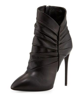 Pleated Peak Leather Bootie, Nero by Giuseppe Zanotti at Neiman Marcus.