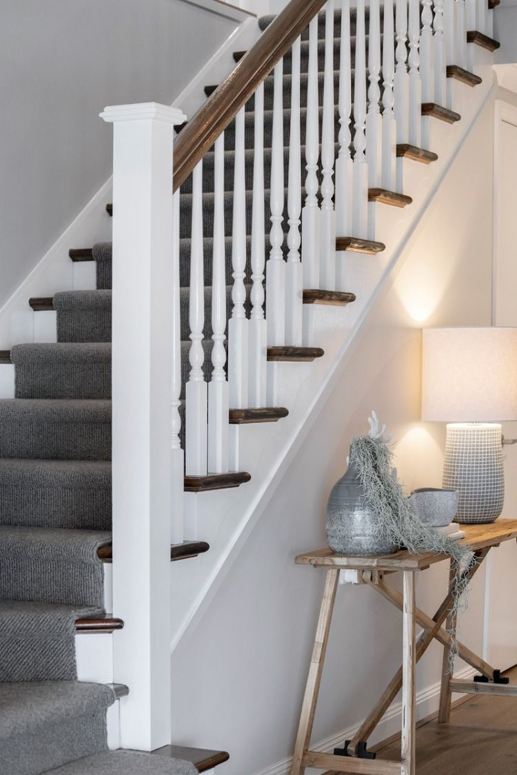 Keep a classic flow from upstairs to down.   Stairs design ...