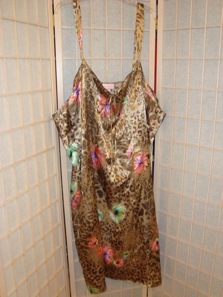 Sexy Serenada Women s Sz 5X 34 36 Leopard   Floral Satin Nightie Gown   Serenada  Gowns daae95856