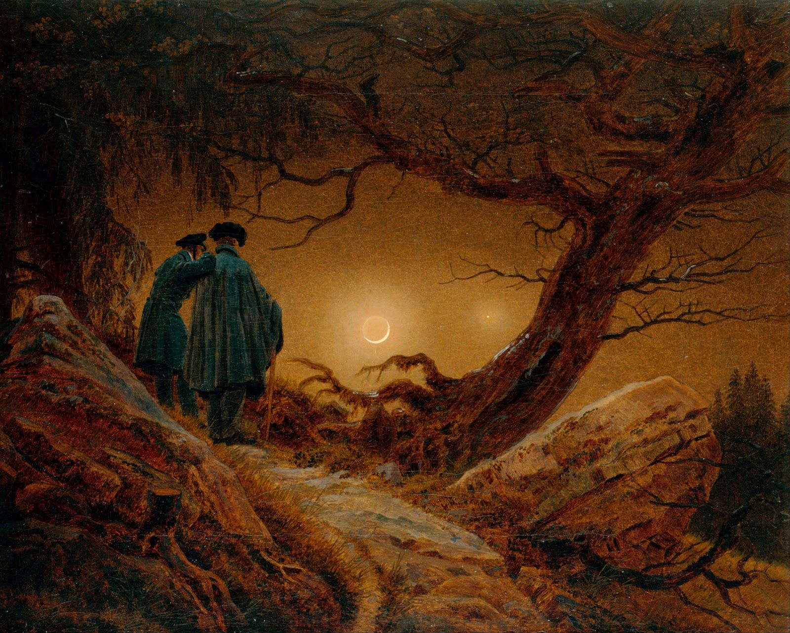 Caspar David Friedrich Two Men Contemplating The Moon