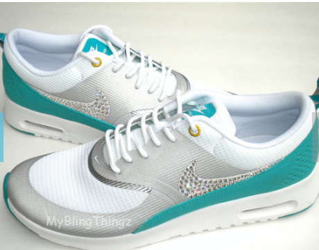 37723e8a7df0 2015 Rhinestones Shoes Nike Air Max Thea - Metallic Silver White Turbo  Green - Bedazzled with REAL Swarovski Elements Crystals