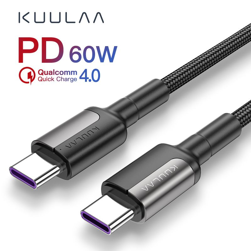Cheap Price Of Kuulaa Usb Type C To Usb Type C Cable For Xiaomi Redmi Note 7 60w Pd Qc 4 0 Quick Charge Usb C Cable For Samsung Galax Usb Samsung Galaxy Xiaomi