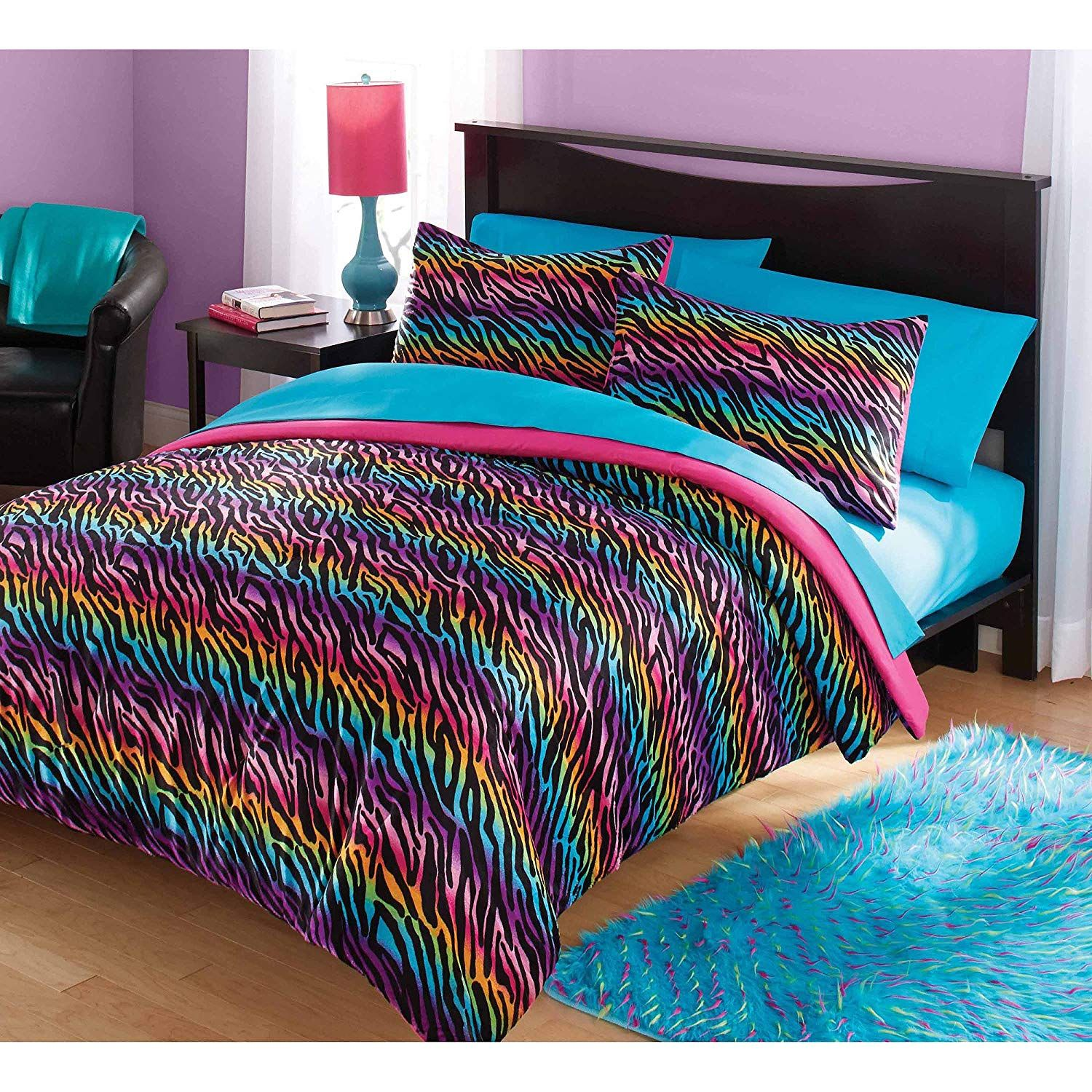 Girls Twin Zebra Rainbow Comforter Set. Includes Comforter and 1 Sham. This Gorgeous Twin Comforter Set Will Suit Your Teen, Girls and Adults Too