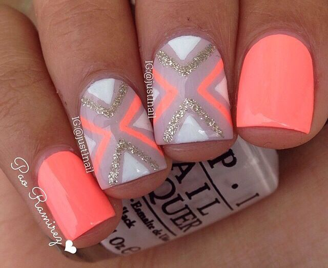 Peach and silver | Nails | Pinterest | Peach, Makeup and Nail nail