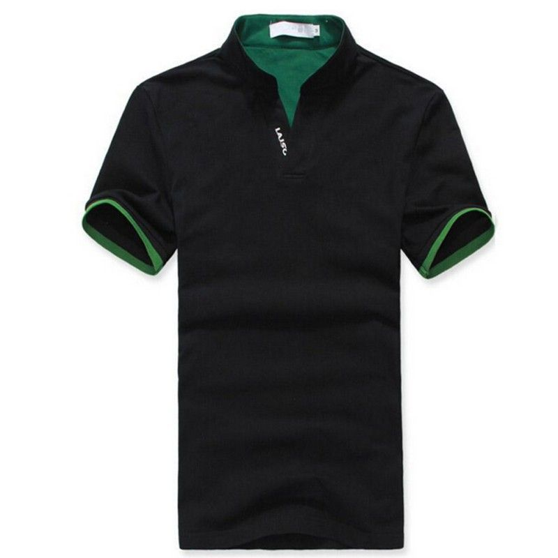Men Classic T Shirt Solid Color Men's Lapel Polo Shirt Short Sleeve Tee T-shirt