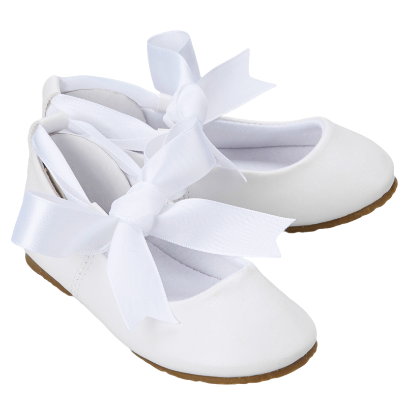 a2409c3be8e White Ballet Flats Dress Shoes with Grosgrain Ribbon Tie (Baby ...