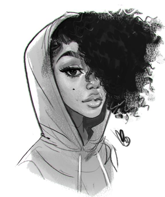 Curly Hair Anime Black Girl Drawing Drawings Of Black Girls Art