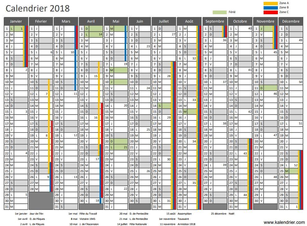Calendrier Avec Numero Semaine.Calendrier 2018 A Imprimer Jours Feries Vacances Numeros