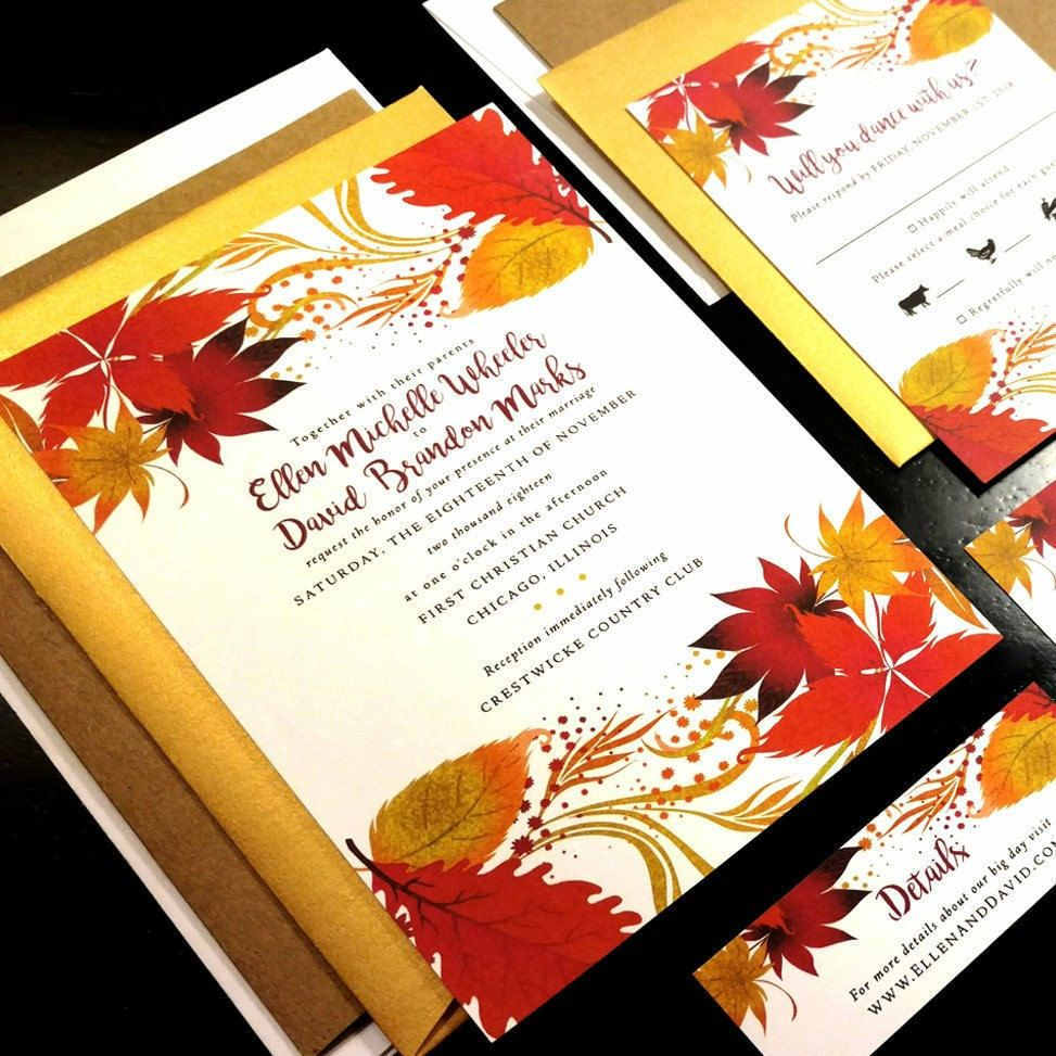 Fall Watercolor Flourish Damask Custom Wedding Invitation Orange ...