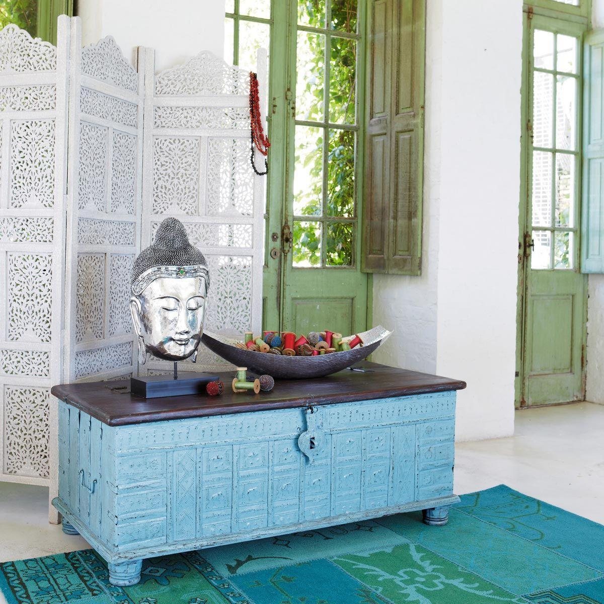 Coffre indien en manguier massif bleu l 125 cm chambre parents maison du monde mobilier de - Coffre maison du monde ...