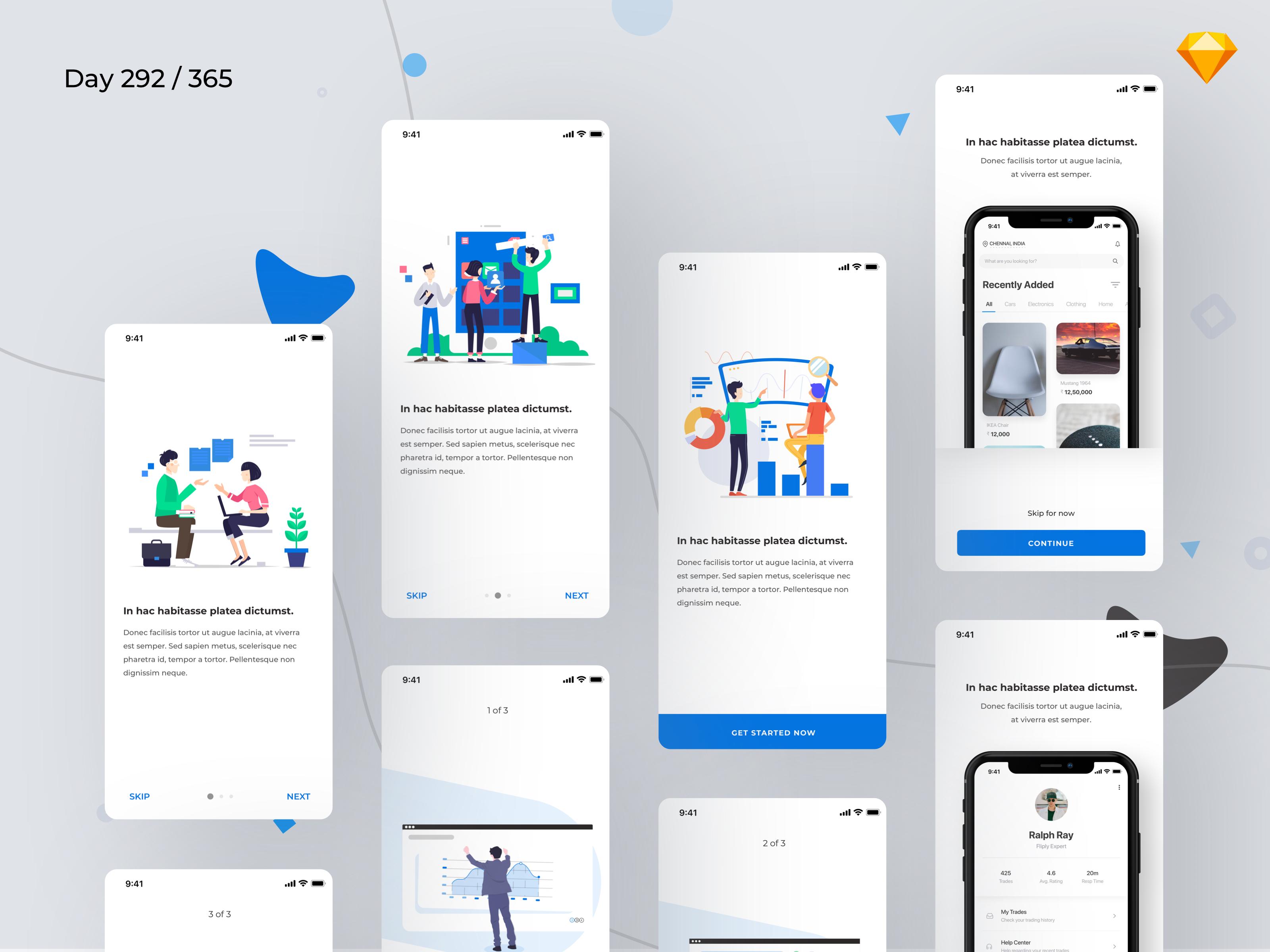 Mobile Onboarding Screens - Freebie | freebie & free file | App