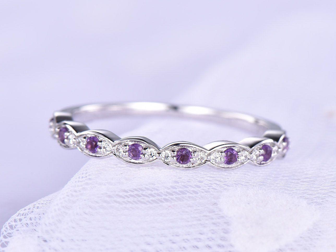 Amethyst wedding band amethyst ring for women 14k white