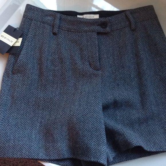 "NWT Grey and black herringbone shorts Very nice black and grey herringbone wool shorts. 80% wool, 20% nylon. Mid thigh length (13""). One back pocket. See by Chloe Shorts"