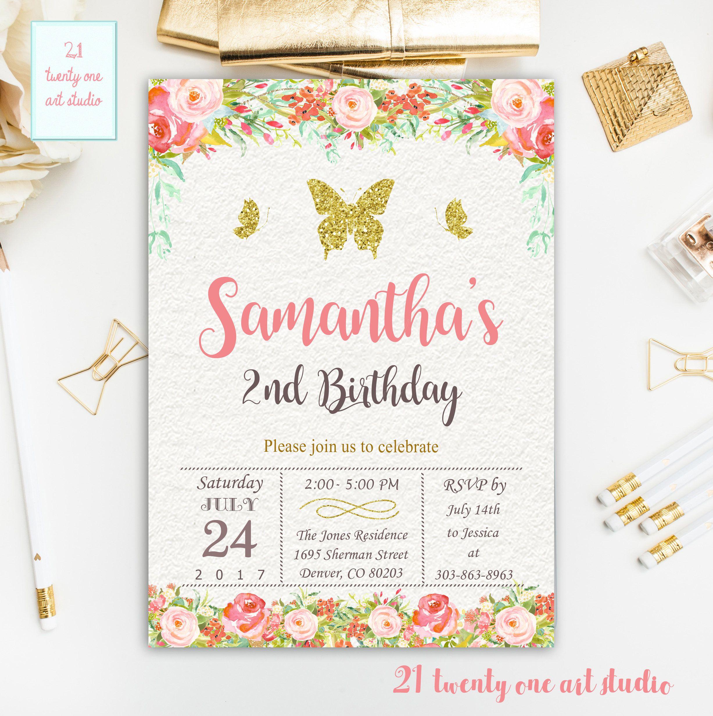 Butterfly Birthday Invitation, Floral Boho Birthday Invitation, Gold ...