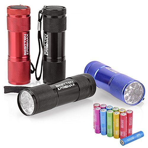 4 Pack Bestten Super Bright 9 Led Mini Aluminum Flashlight With Lanyard Assorted Colors Free Aaa Batteries Included Best T Flashlight Aaa Batteries Outdoor Bbq