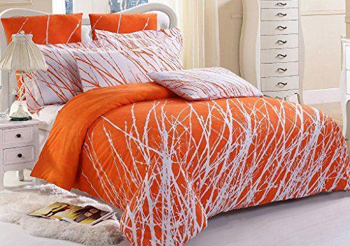 3pc Tree Duvet Cover Set And Pillow Shams Orange White