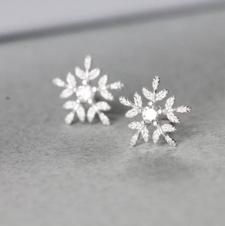 Cute kids snowflake rose gold christmas gift stud earrings jewellery UK seller