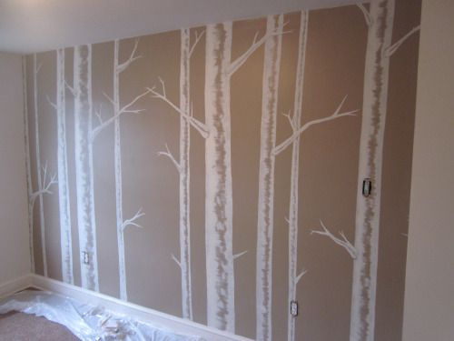 Painting the nursery birch tree wall mural tree wall for Birch trees wall mural