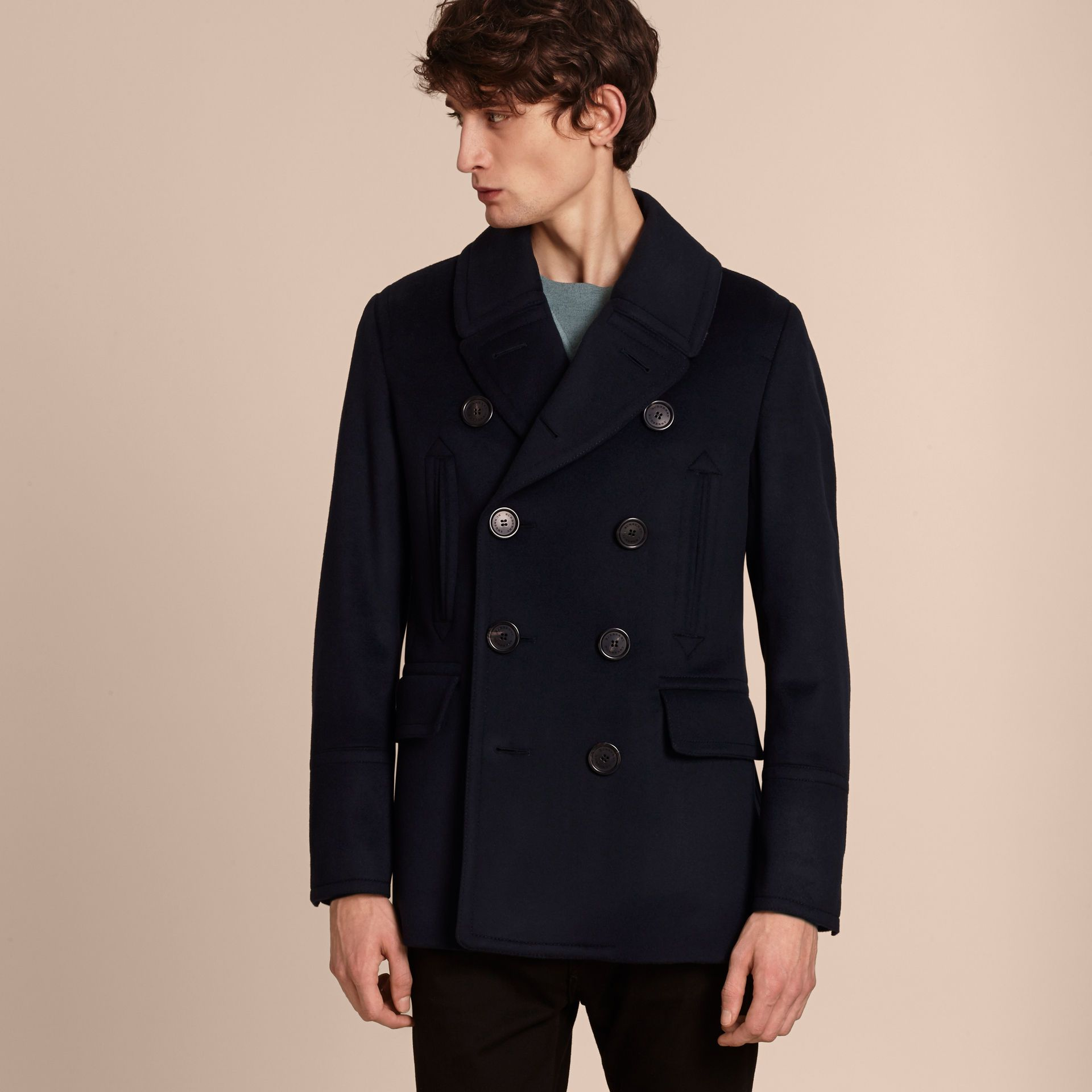 Wool Cashmere Pea Coat in Navy - Men