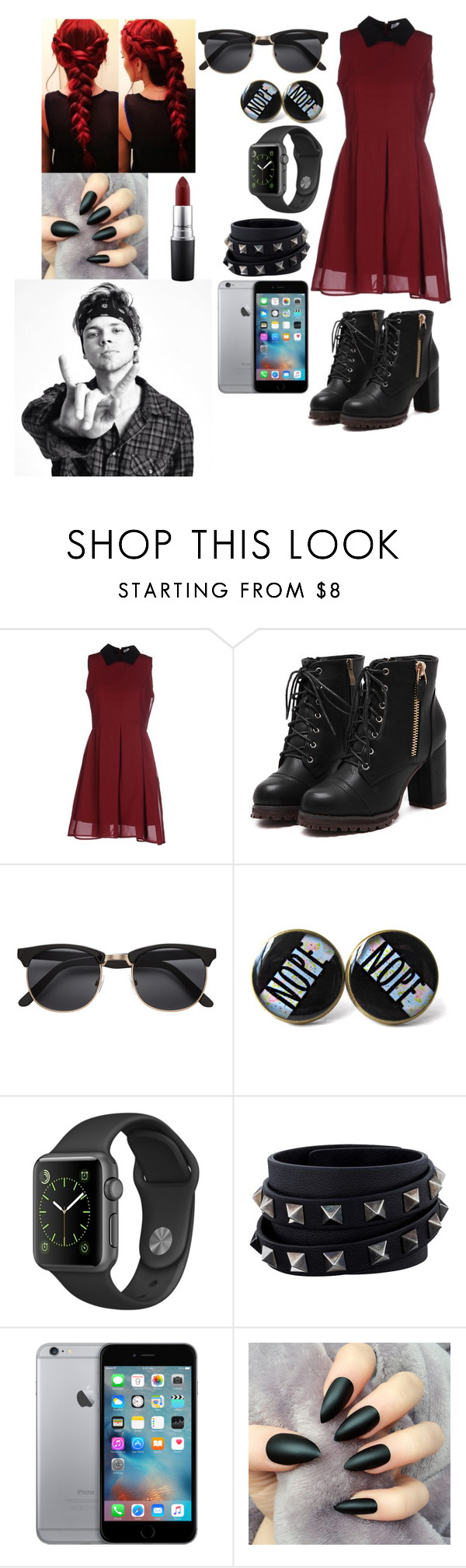 """""""Date with Ashton Irwin"""" by joanaoliveira-ii ❤ liked on Polyvore featuring Anonyme Designers, Valentino and MAC Cosmetics"""