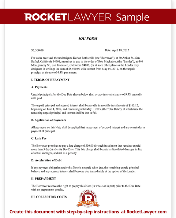 IOU Form Template - Printable Legal IOU (with Sample) - i o u forms ...