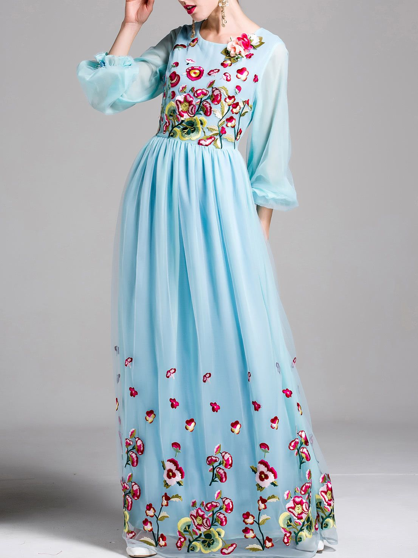 Flowers applique puff sleeve embroidered maxi dress dresseslong