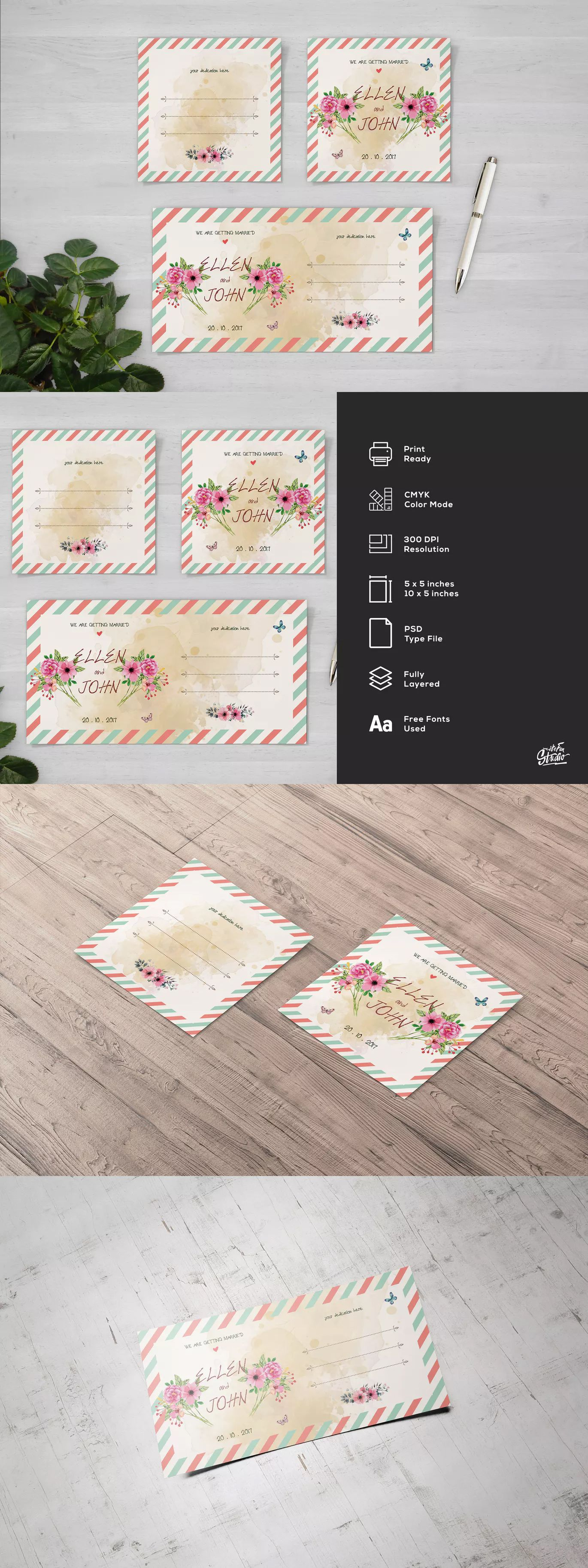 Postcard Floral Wedding Square Flyer and Invite Template PSD