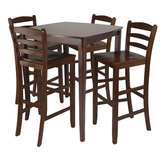 Tall Table And Chairs In A Dark Wood
