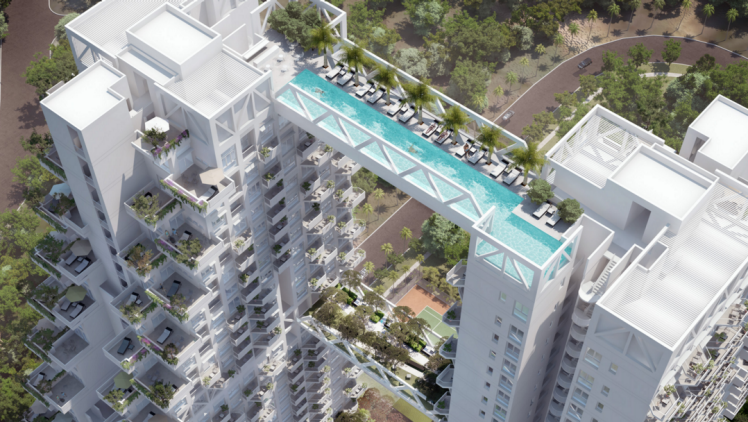 This Pool Suspended Between Two Buildings In Singapore S New Sky Habitat Apartment Complex Is Not For The Faint Hearted Sky Pool Pool Bridge Skyscraper