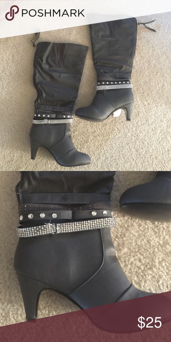 Wide calf grey boots Beautiful grey boots with rhinestone details.  This boot features a wide calf.  Zipper is located on the back of the boot and goes up the length of the shoe.  Never been worn! New in box! *will bundle with any other item in my shop.  *prices are negotiable at a reasonable offer *smoke free house *no stains *ships out next day twisted Shoes Heeled Boots