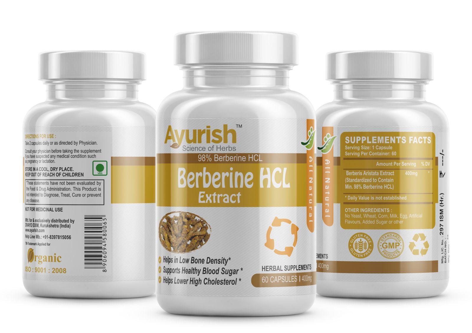 Ayurish Berberine HCL 98 % Extract Supplement 400 mg 60