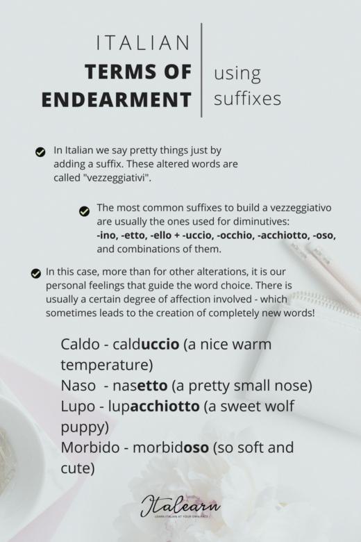 Italian Terms Of Endearment Infographic Italearncom