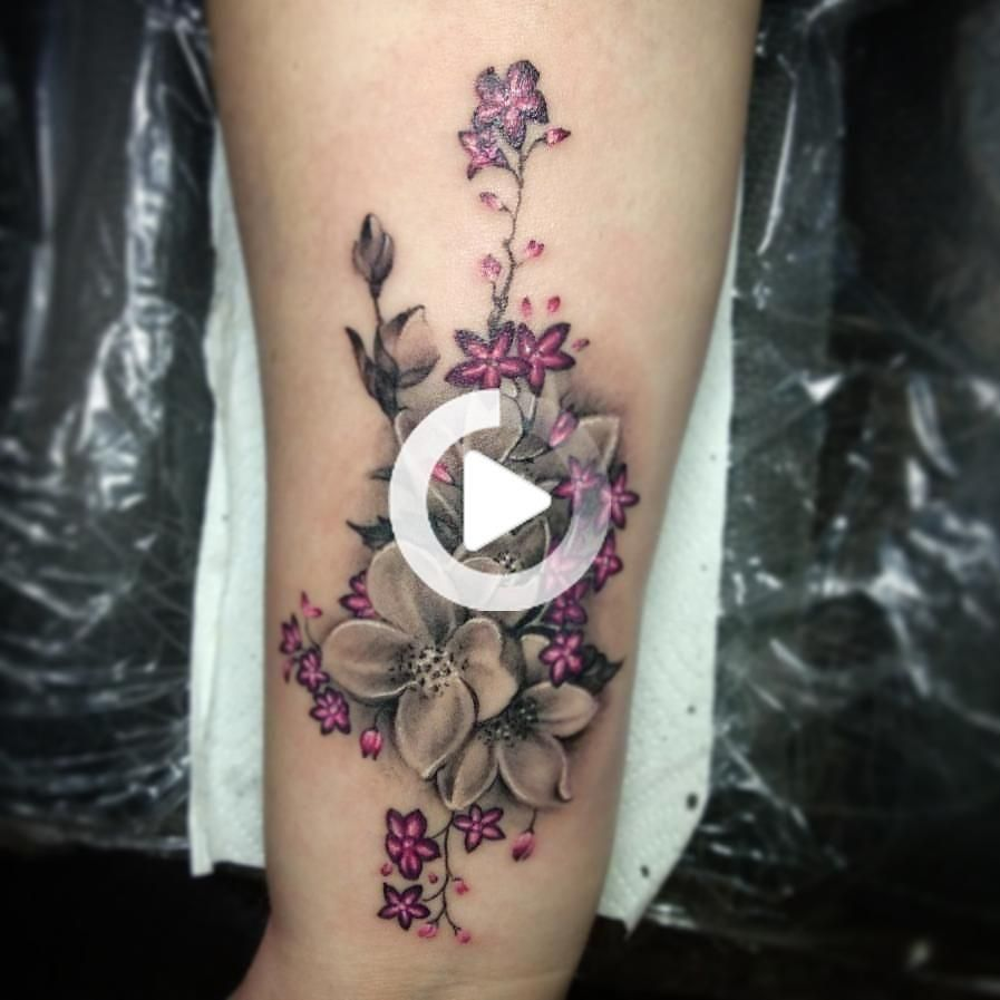 Flower tattoo on for