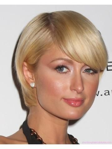 Paris HiltonS Short Blonde Wig Blonde Wig Short Blonde And Wig - Evening hairstyle for round face