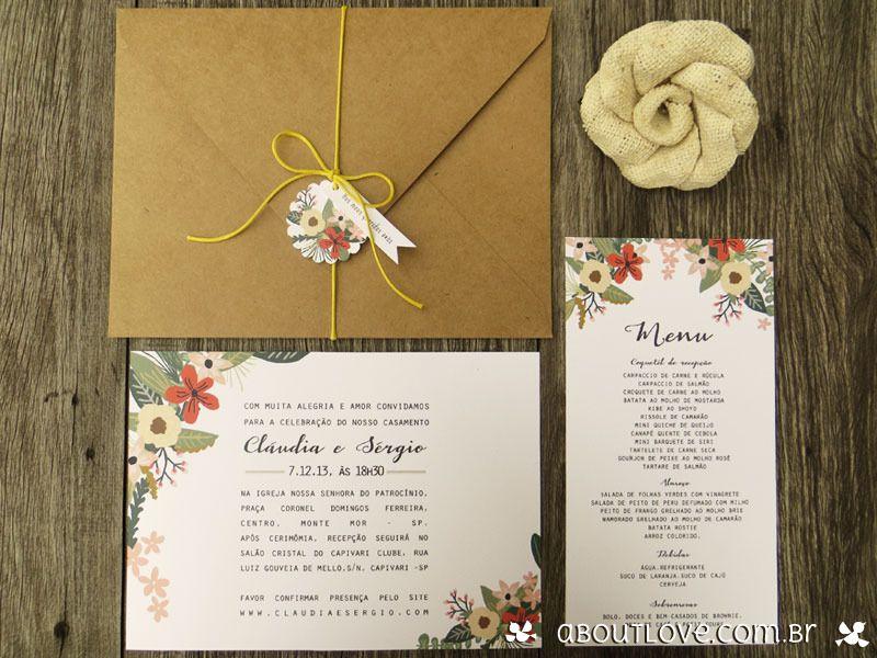 Convite De Casamento Com Envelope Kraft E Tema Floral Aboutlove