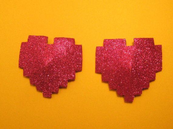 Link Hearts ha. . .8 Bit heart pasties by NeedingAttention on Etsy, $11.00